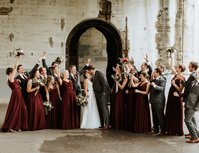 Urban Burgundy Fall Wedding