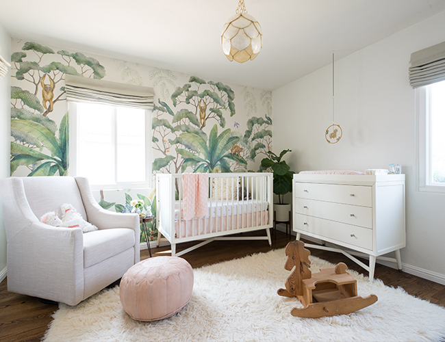 Blush Jungle Wallpapered Nursery