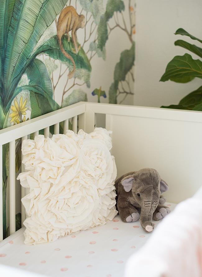 Blush Jungle Wallpapered Nursery