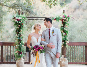 Rustic Burgundy Mountainside Wedding
