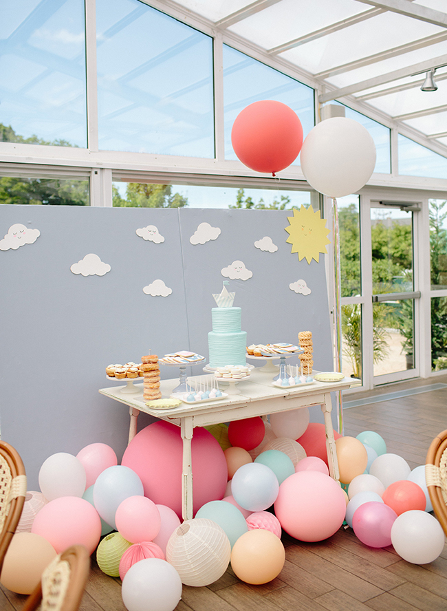 Pastel Baby Shower, peach and blue baby shower, nautical baby shower details