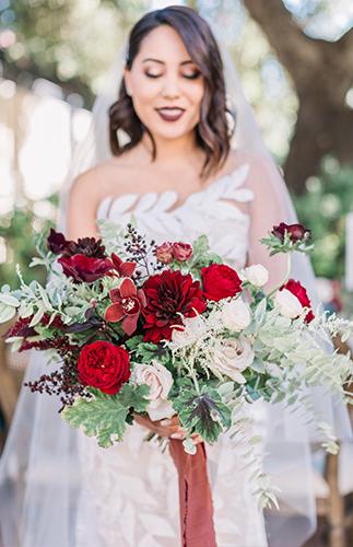 Jewel Tone Wedding, oscar de la renta wedding dress