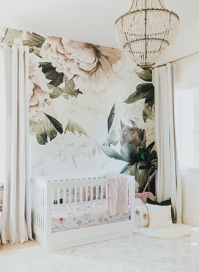 floral wallpaper nursery, Jessi Mallay