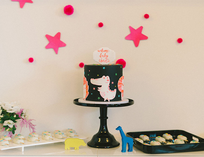 Neon Baby Shower, Animal Baby Shower