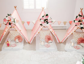 Pink Teepee Birthday Party, Teepee sleepover