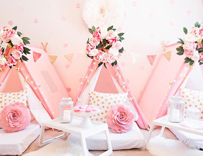 Pink Teepee Birthday Party, Teepee sleepover