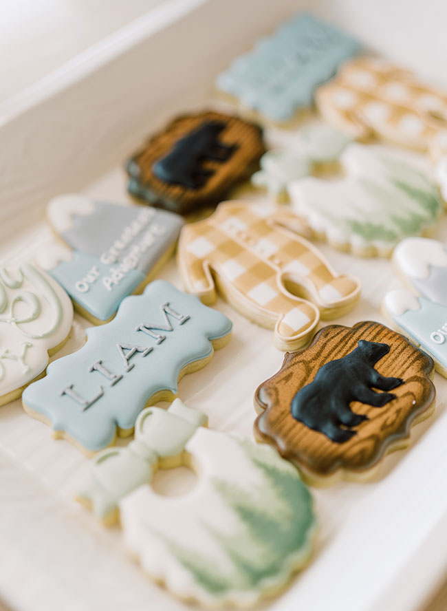 Woodland Baby Shower, White and blue baby shower