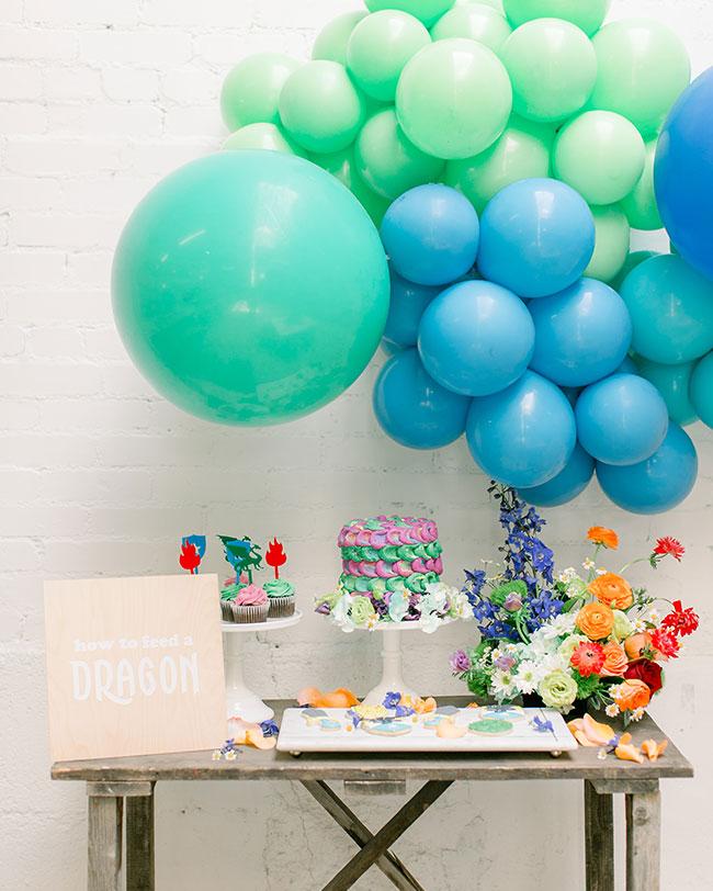 Colorful Kids' Dragon Party, Dragon Cake, Dragon Cupcakes