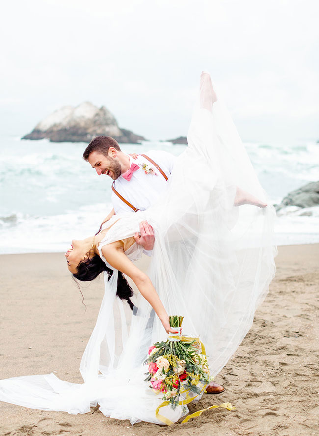 Living Coral Wedding Inspiration , Seaside Wedding in San Francisco