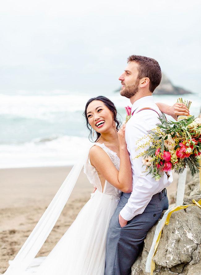 Living Coral Wedding Inspiration , Seaside Wedding in San Francisco