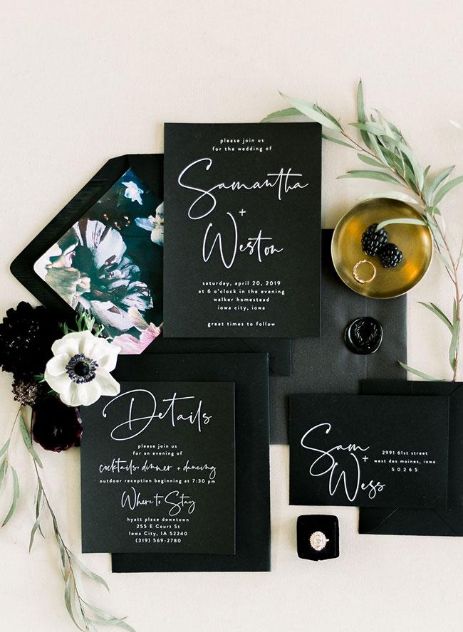 A Chic Matte Black Barn Wedding with Greenery