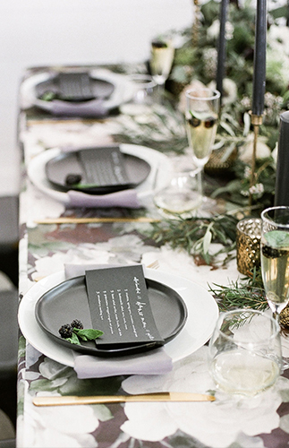 A Chic Matte Black Barn Wedding with Greenery - Inspired by This