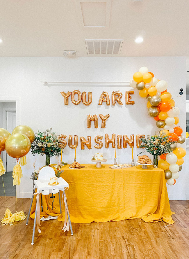 Gold Sunshine Themed Birthday, You Are My Sunshine backdrop