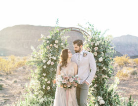 Red Rock Canyon Elopement, blush and mauve wedding