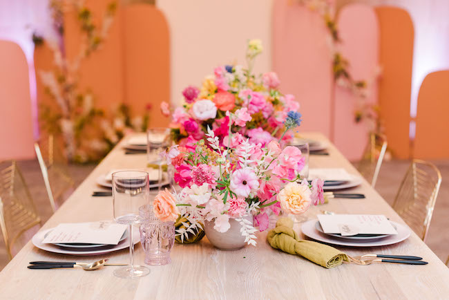 Colorful mid-century meets modern wedding inspiration at the W Hotel - inspired by this one